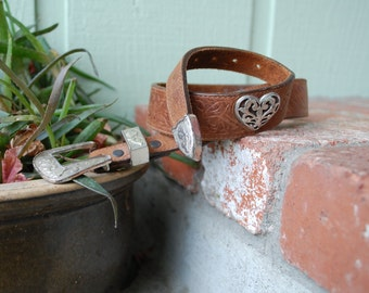 Vintage Size 26 Small Justin Top Grain Cowhide Leather Belt High Wasted Heart Hand Tooled Floral Western Silver Brown Boho Hippie Spring