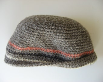 striped wool beanie hat gray