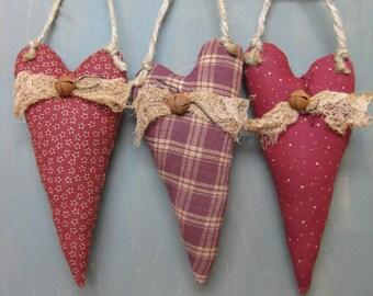 Valentine's Day Hanging Hearts - Set of 3 - Primitive - Maroon Fabrics - Wedding - Anniversary -Valentine  Home Decor - Maroon Hearts