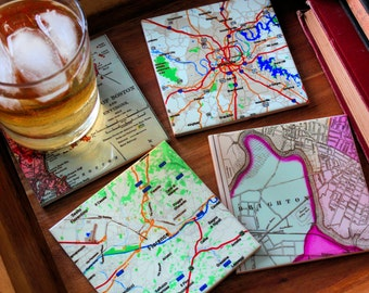 Custom Map Coasters_Personalized Coasters_Custom Tile Map Set_Hostess Gift_Wedding Favor_Coworker gift_ housewarming Gift_Home decor