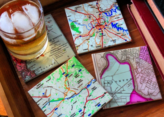 Map Cup Coaster Set Custom Ceramic Tile Set of 4 Personalized Maps Housewares Gifts