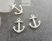 Clearance -50  pcs mini  silver anchor charms-T0976
