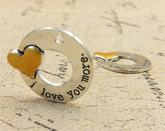Wholesale-New design sale two tone I love you more  charms -T0712-40PCS