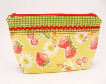 Fun Zipper Pouch for Cosmetics, First Aid, Baby - Yellow, Strawberries, Green Gingham