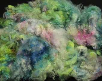 Wensleydale  locks, hand painted fiber fleece for spinning and felting, 4.5 oz