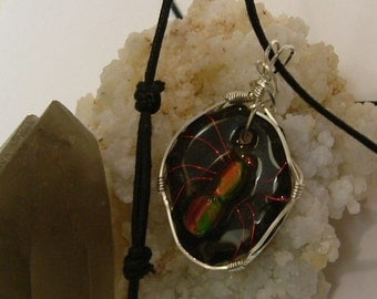 Bright Red, Green and Gold Color Fire Gem Ammolite From Utah Deposit, Spider Mens Cord Necklace 612