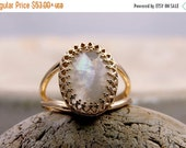 25% OFF SALE - moonstone rainbow ring,rose gold ring,white gemstone ring,feminine ring,pink gold jewelry,gold filled ring,vintage r