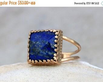 SUMMER SALE - Lapis lazuli ring,September birthstone ring,rose gold ring,vintage ring,gemstone ring,navy blue ring,square ring