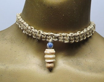 SALE Cream white riverstone with blue sodalite stone choker necklace made with hemp.  HCK-873