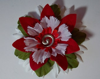Holiday Flower Accessory, White Red and Green Flower Pin or Hair Clip