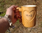 Initials Tree Carved Wood Grain Mug for Lovers Personalize for Valentine's Day Handmade Ceramic from my Charleston, SC Studio
