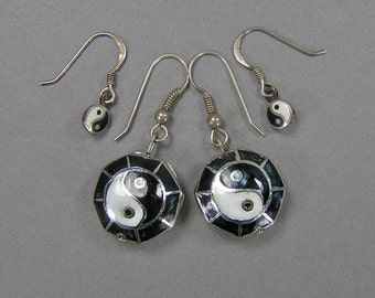 Yin Yang Earrings, Vintage Sterling Silver, Enamel, Black & White, Dangle Earrings, Hippie, Boho