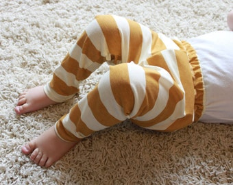 SALE Mustard, Yellow, Cream, Stiped, Stripe, Unisex, Baby Girl, Baby Boy Knit Leggings Pants