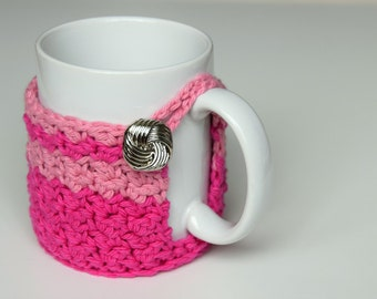 Pink and Pink Striped Mug Cozy with Silver Knot Button