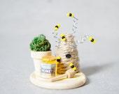 Miniature BeeKeeping Set - Miniature Dollhouse Beekeeper Honey Set- Fairy Garden Food - Dollhouse Honey Set - Doll Food - Miniature Honey