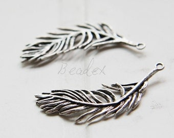 One Piece / Feather / Oxidized Silver Plated / Real Silver / Brass Base / Pendant (Z8710//G875)