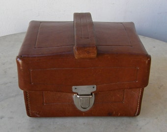 FRENCH LEATHER CASE Box with Carrying Strap Handle Padded Interior Secure Stitching & Latch Closure Vintage France Mid 1900's Special Price!