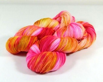 Sock Yarn / Hand Dyed / Fingering Yarn- Superwash Merino / Nylon - Golden Fuschia