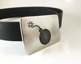 Bomb Belt Buckle - Etched Stainless Steel - Handmade