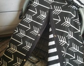 Carseat Canopy Black Arrow Stripe REVERSIBLE 2 covers in 1
