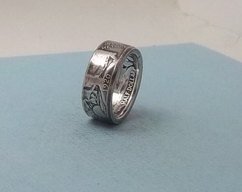 Unique Gift, Silver coin ring walking liberty half dollar 90% fine silver jewelry year 1920 size 10 1/2