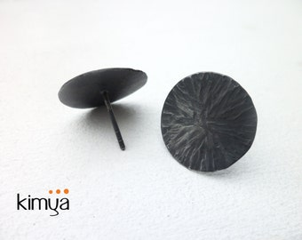 Hammered Oxidized Silver Stud Earrings - Modern Oxidized Stud Earrings - Simple Round Stud Earrings - Contemporary Jewelry Handmade