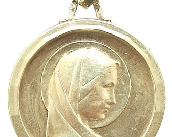 """Vintage Holy Virgin Mary Round Religious Medal Pendant on 18"""" sterling silver rolo chain"""