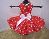 Dog Dress  XS Red with White  Hearts  By Nina's Couture Closet