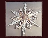 "Sea Shell Keepsake Ornament Accent Tree Topper #150 (Size 9""), Beach/Nautical/Coastal Decor, Keepsake Ornament/Wall Accent"