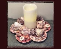 "10"" Seashell Candle Ring w/Real Wax Battery Candle, Beach, Nautical, Coastal Decor, Wedding, Anniversary, House Warming, Birthday Gift"