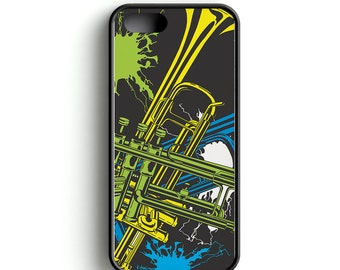 Cell Phone Case, Music Cell Phone Case, Trumpet Cell Phone Case, Trumpets, Music design Cell Phone Case with Neon Trumpets
