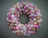 "CHRISTMAS Wreath 18"" Ornament Wreath PINK White Champagne Christmas Wreath"