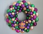 "MARDI GRAS 19""  Ornament Wreath with Beaded Ornament"