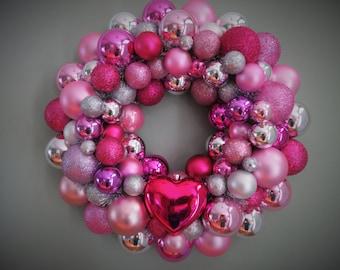 Valentine's Wreath PINK Silver MAGENTA VALENTINE'S Day 1 heart Ornament Wreath 1 16