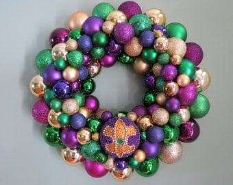 "MARDI GRAS 19""  Ornament Wreath with Beaded Ornament"