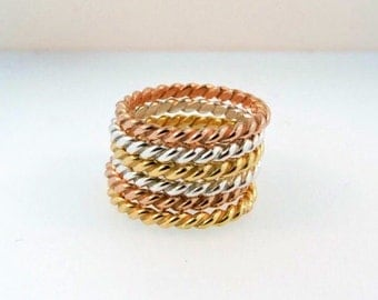 Handmade Twisted Stacking Bands in Sterling Silver, 14k Rose Gold and 18k Yellow Gold. Price Per Band