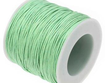 Wax Cotton Cord : Mint Green 1mm Waxed Cord String / Bracelet Cord / Macrame Cord  [Choose 10 feet or 30 feet] -- 90701-44