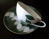 Mid Century China Tea Cup Saucer Set // Noritake Nippon Abstract Modern Green White Leaves