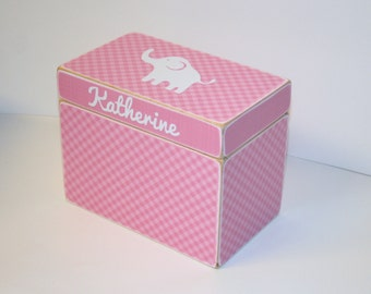 Baby Shower Card Box, Pink Elephant Box, 4x6 Recipe Box, Pink Gingham Recipe Box, Handmade 4 x 6 Wooden Box, Elephant Keepsake Box