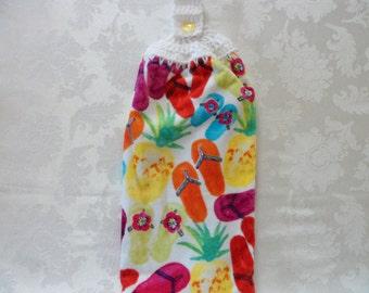 Hanging Double Kitchen Towel Flip Flops Towel Hanging Crochet Top Summer Flower Towel Tropical Hanging Kitchen Towel