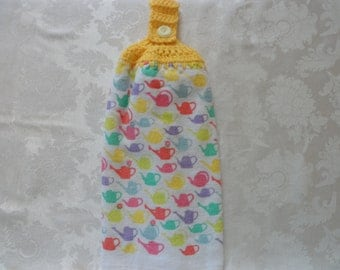 Hanging Double Kitchen Towel  Flower Watering CanTowel Kitchen Towel Hanging Towel Crochet Top Hanging Kitchen Towel