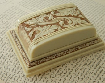 Vintage Deco Celluloid Wedding Ring Box. Engagement. Antique Jewelry Box. Gatsby.