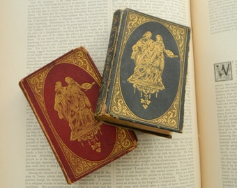 Circa Mid 1800. Two Scarce Antique Miniature Leather Poetry Books. The Poetical Works of Thomas Campbell. Poems of Lydia Sigourney.