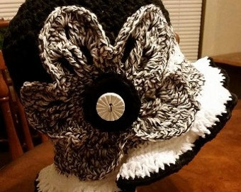 Black and White Variegated Hat