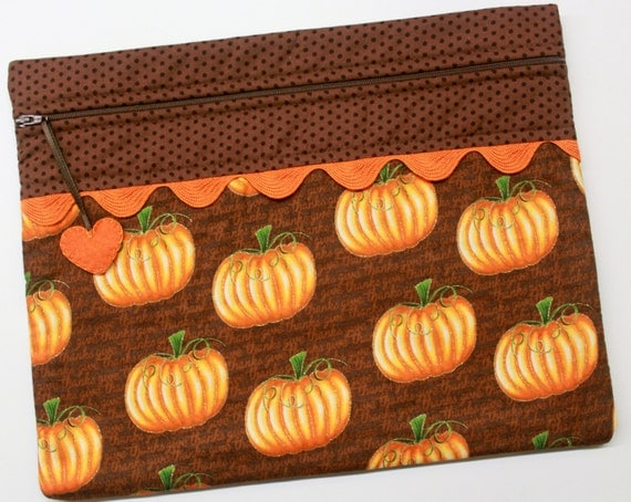 Thankful Pumpkins Metalic Gold Cross Stitch Embroidery Project Bag