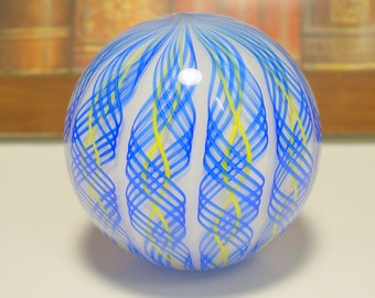 James Alloway Signed Blue and Yellow Vertical Twisted Latticino Art Glass Paperweight, James Alloway, Twisted Latticino, Hand Blown Glass