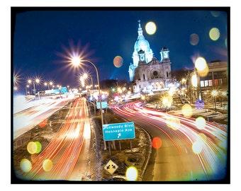 Hennepin Lyndale Minneapolis Basilica Landmark Bokeh Night photo Twin Cities
