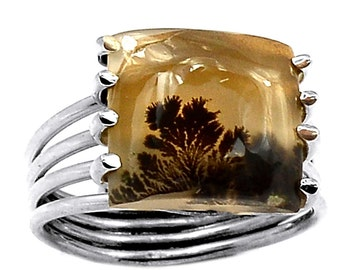 Scenic Picture Agate Sterling RING SIZE 7. Gemmy.