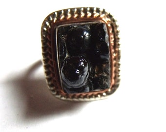 Botryoidal Hematite Sterling Silver Ring Size 6 1/2