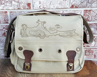 Laptop Bag - Topographic - Screen Printed Messenger Bag with Laptop Compartment